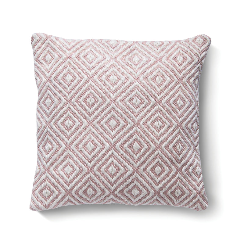 Diamond Woven Cushion Made from Recycled Bottles - Rose Pink