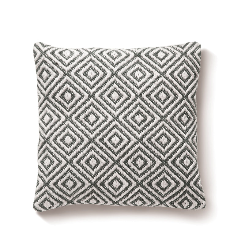 Diamond Woven Cushion Made from Recycled Bottles - Warm Grey