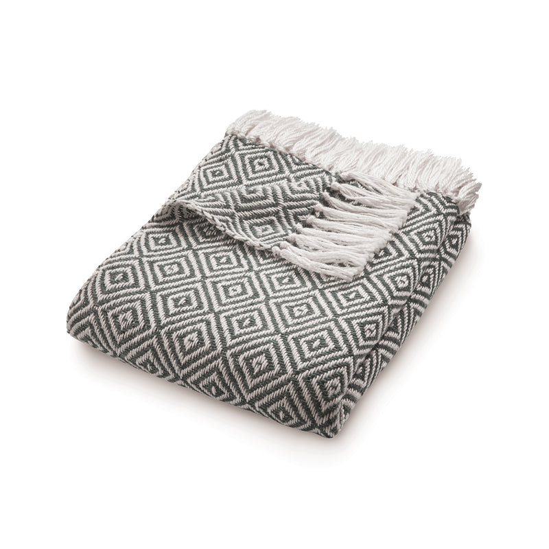 Dark grey diamond pattern throw made from recycled plastic bottles