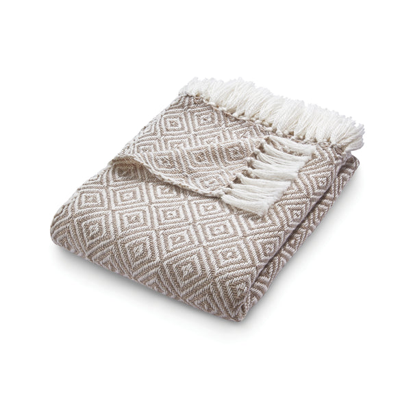 Natural colour diamond pattern throw made from recycled plastic bottles