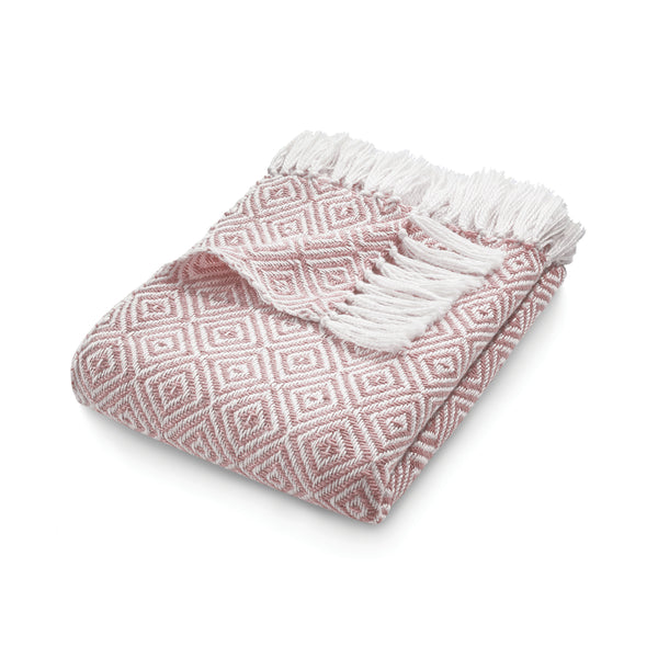 Pink diamond pattern throw made from recycled plastic bottles