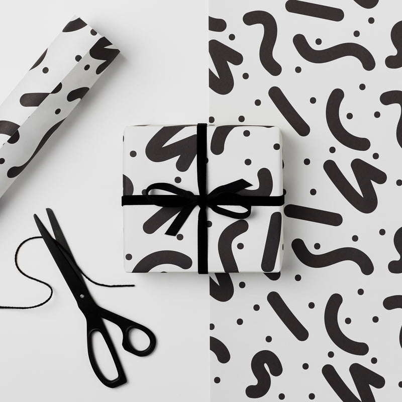 Recyclable Wrapping Paper - Monochrome Coco design