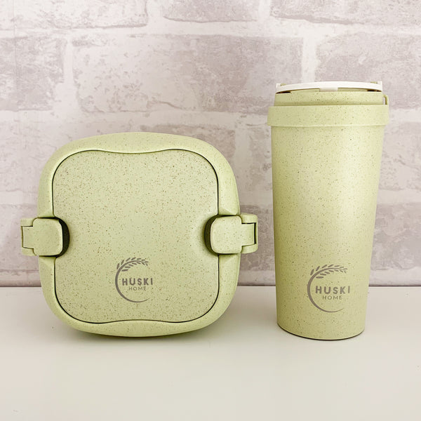 Recycled Rice Husk Lunchbox & Large Coffee Cup Set - Pistachio