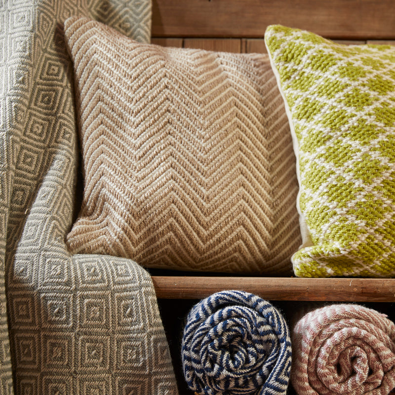 Natural colour diamond pattern cushion made from recycled plastic bottles
