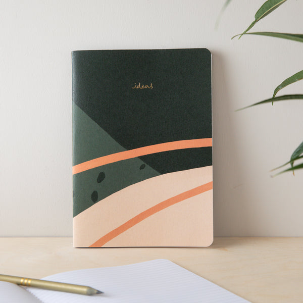 Soft Cover Notebook & Chocolate Gift Set - Green