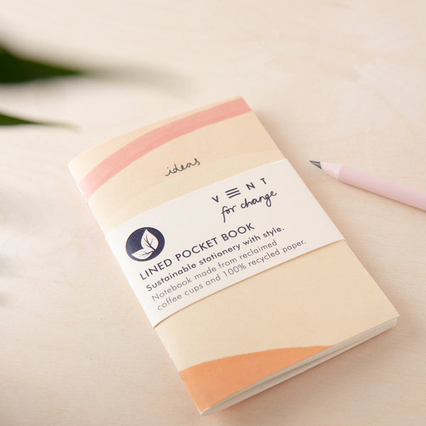 Recycled Mini Notebook & Bookmark - Cream Lined