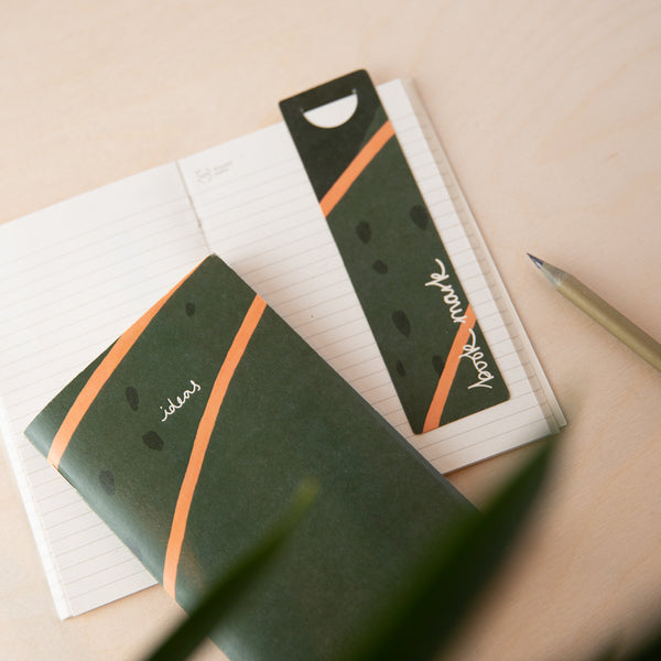 Recycled Mini Notebook & Bookmark - Green Lined