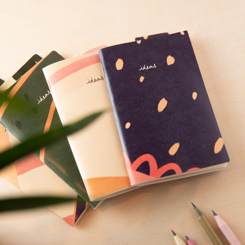 Recycled Mini Sketchbook & Bookmark - Blue Plain