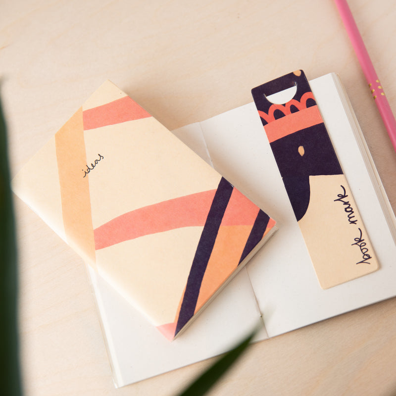 Recycled Mini Sketchbook & Bookmark - Pink Plain