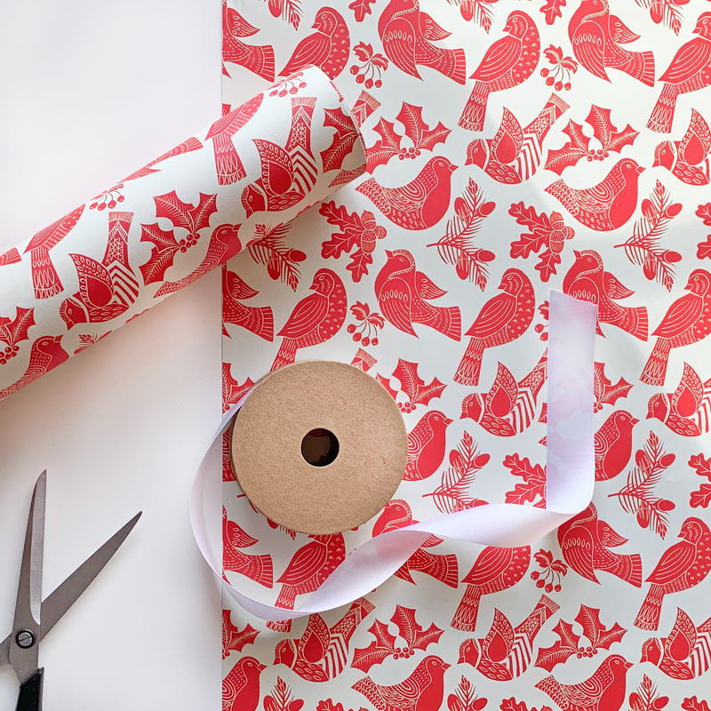 Recyclable Christmas Wrapping Paper - Folk Robins by Rewrapped
