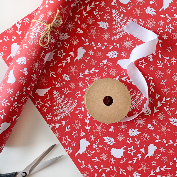 Recyclable Christmas Wrapping Paper - Scandi Robins by Rewrapped