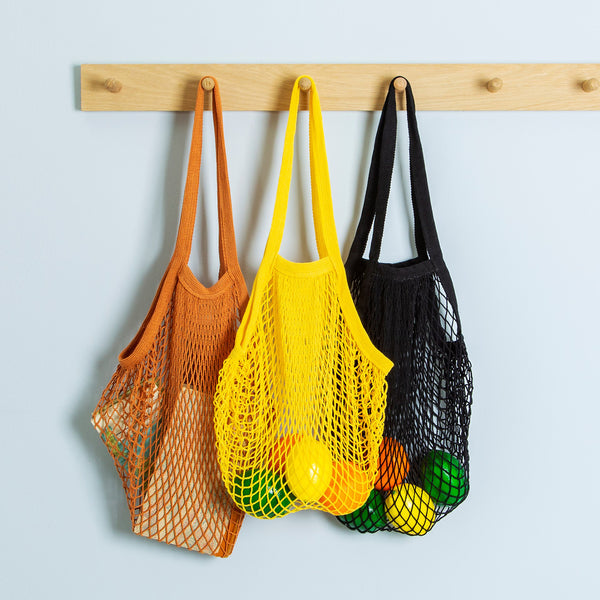 Cotton Long Handle String Bag - Black