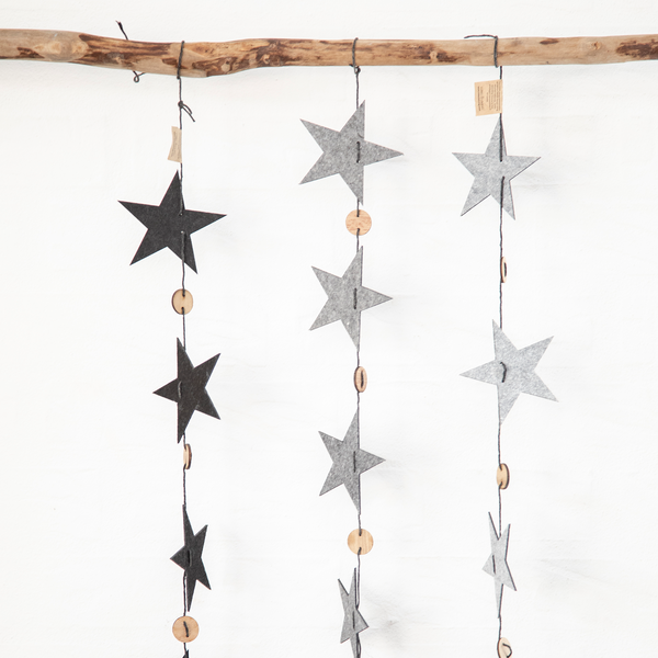 Grey Star Eco Felt Christmas Garland by Oohh Collection