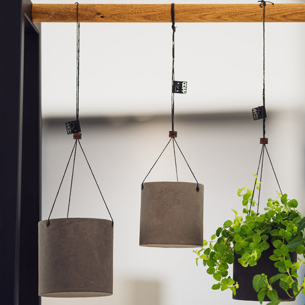 Set of 2 Hanging Pots - Waterproof Recycled Paper - Taupe