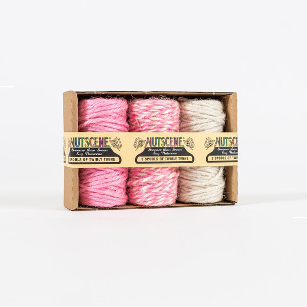 Pack of 3 Pink & White Natural Jute Baker's Twine by Nutscene