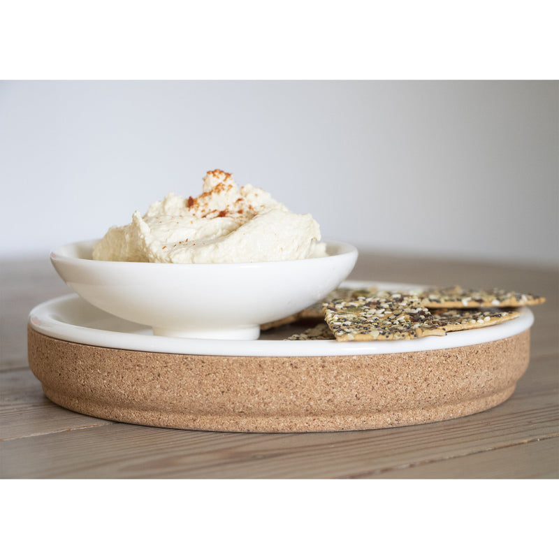 Small White Cork & Ceramic Plate by Liga