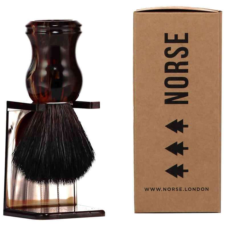 Shaving Brush Made From Recycled Plastic in Tortoise Shell by Norse