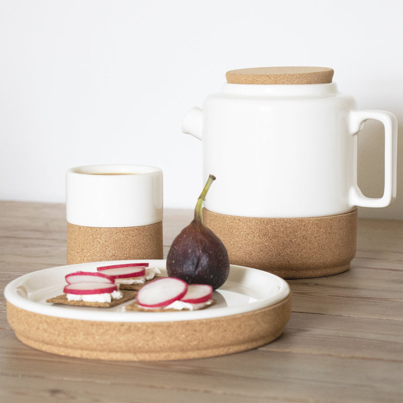 Large White Cork & Ceramic Teapot by Liga