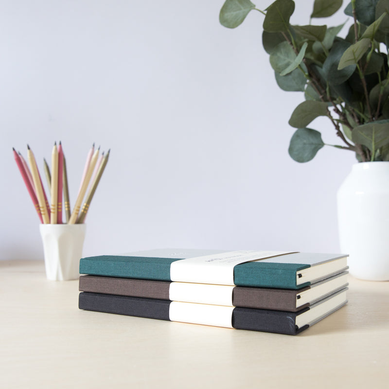 Recycled Hard Cover Notebook - Black Lined