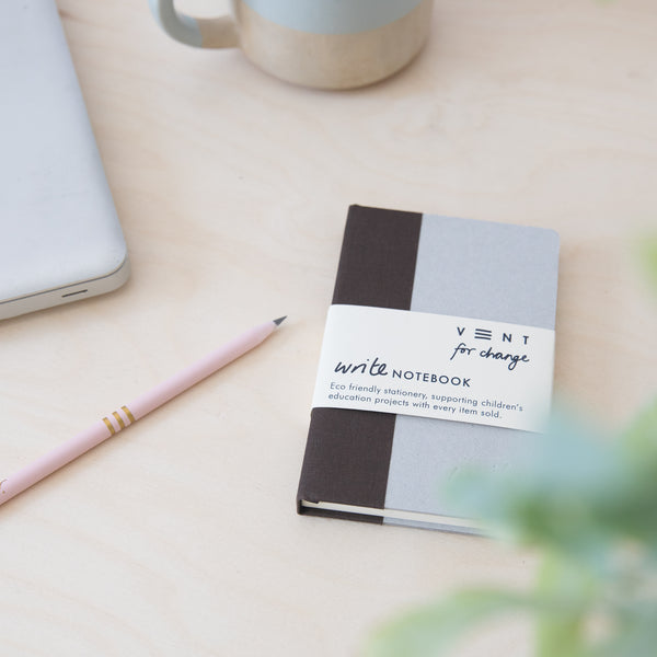 Recycled Hard Cover Mini Notebook - Brown Dotted