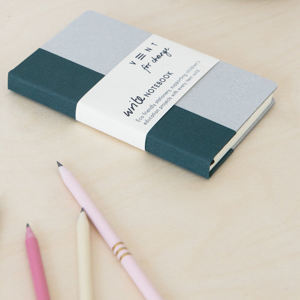 Recycled Hard Cover Mini Notebook - Green Plain