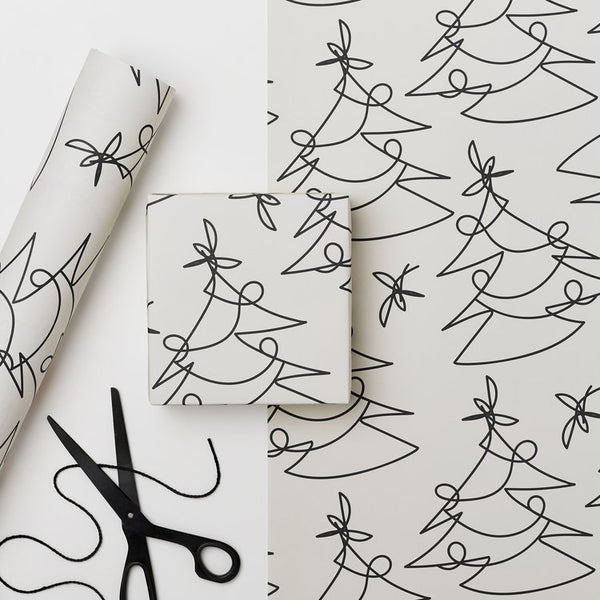 Recyclable Christmas Wrapping Paper - Tree Lines by Kinshipped