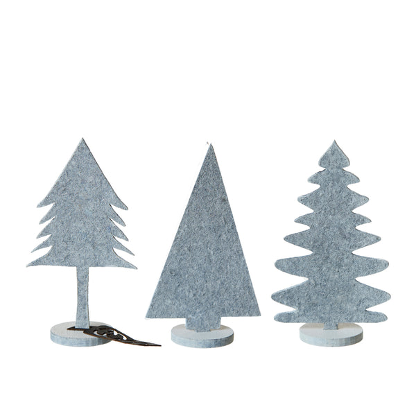 Set of 3 Eco Felt Mini White Christmas Trees by Oohh Collection