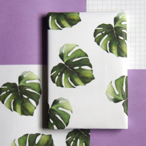 Recyclable Wrapping Paper - Big Leaf Monstera by Cadeaux Paperworks