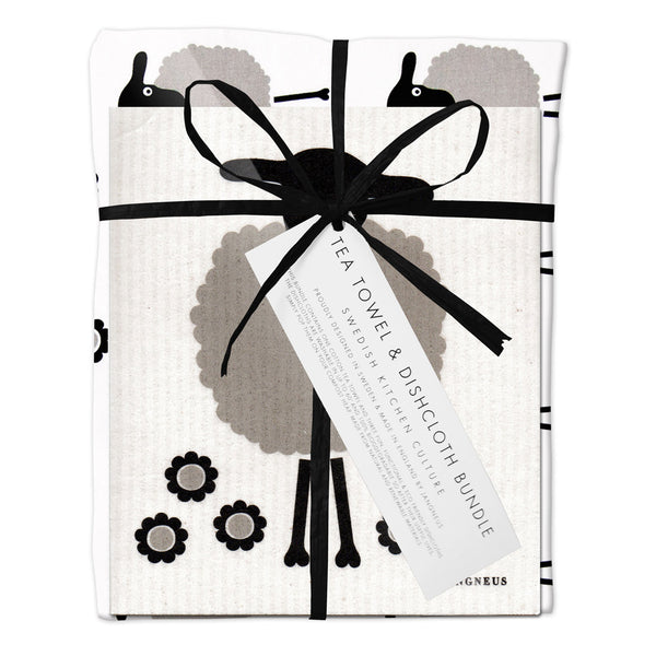 Tea Towel & Dishcloth Bundle - Grey Sheep