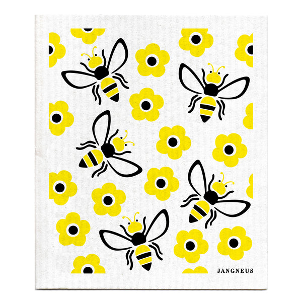 Compostable swedish dishcloth yellow bees pattern