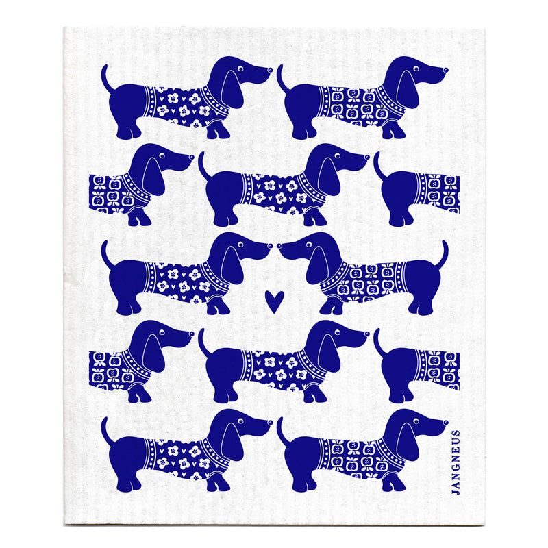 Compostable swedish dishcloth blue dachsund pattern