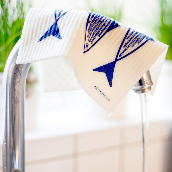 Tea Towel & Dishcloth Bundle - Blue Fish