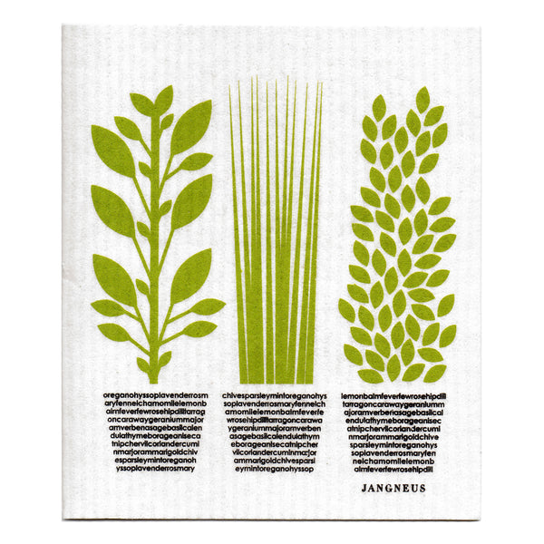 Tea Towel & Dishcloth Bundle - Green Herbs