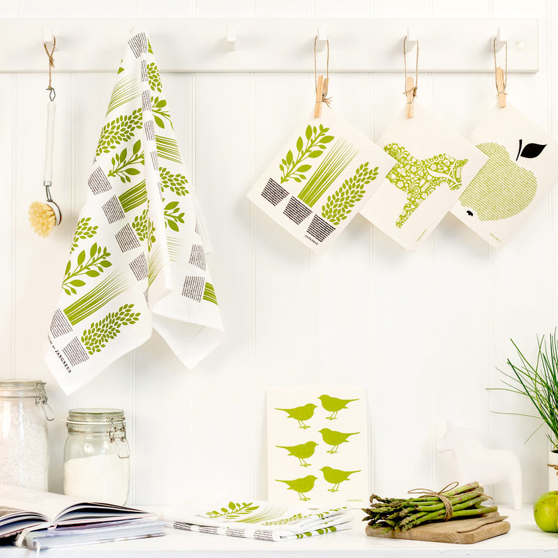 Cotton tea towel green herbs design