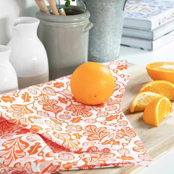 Tea Towel & Dishcloth Bundle - Orange Oak Leaf