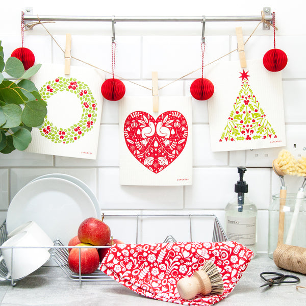 Tea Towel & Dishcloth Bundle - Christmas Partridge