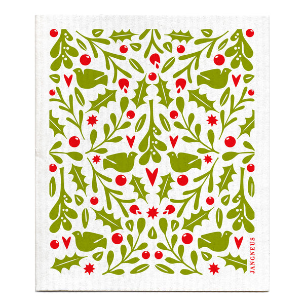 Compostable Swedish Dishcloth - Christmas Holly