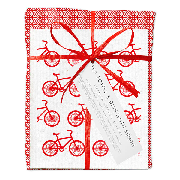 Tea Towel & Dishcloth Bundle - Red Bicycle