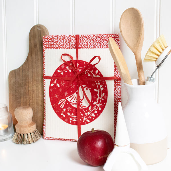Tea Towel & Dishcloth Bundle - Red Robin