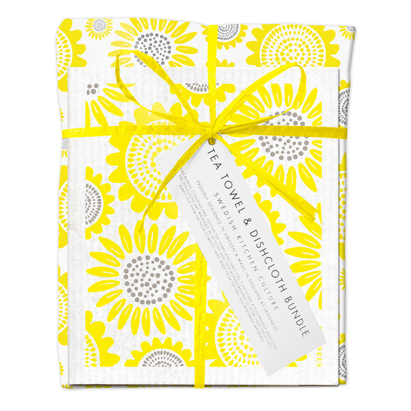 Tea Towel & Dishcloth Bundle - Yellow Sunflower