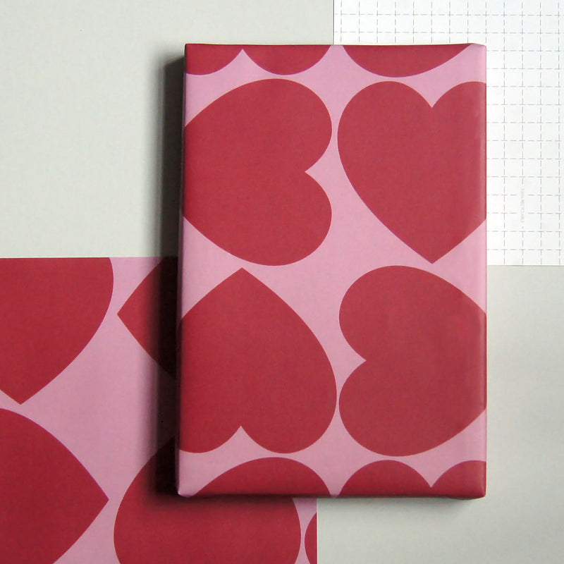 Recyclable Wrapping Paper - Red Love Heart by Cadeaux Paperworks