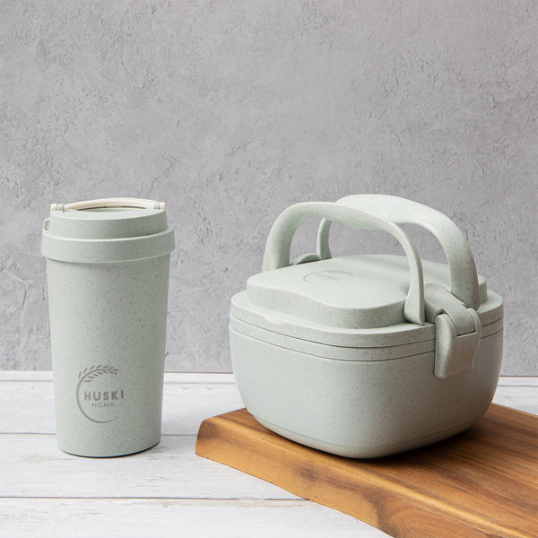 Recycled Rice Husk Lunchbox & Large Coffee Cup Set - Duck Egg