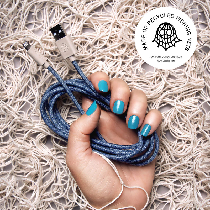 iPhone Charger Made From Recycled Fishing Nets - Blue