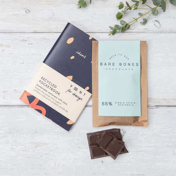 Mini Notebook, Bookmark & Chocolate Gift Set - Blue