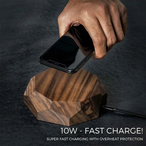 Solid Walnut Wood QI Wireless Charger by Oakywood
