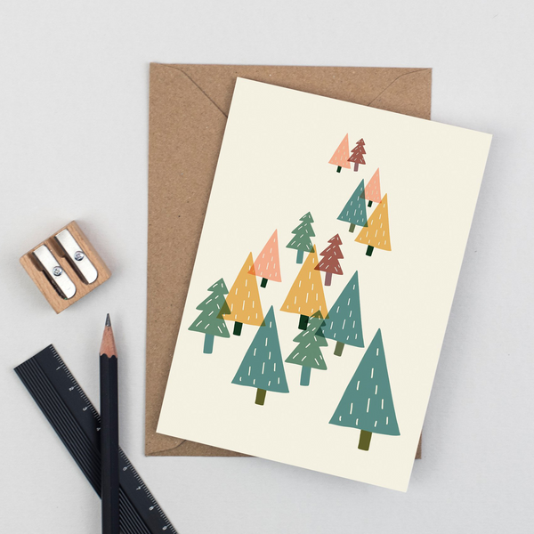 Christmas Card - Forest Trees by Plewsy
