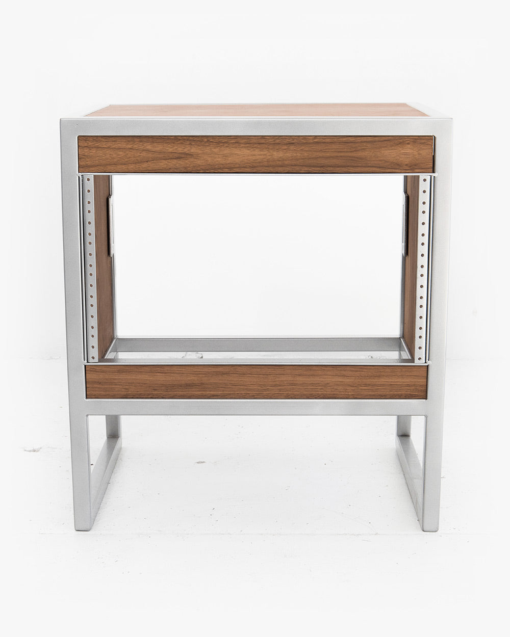 6U Studio Rack (Walnut / Brushed Steel)