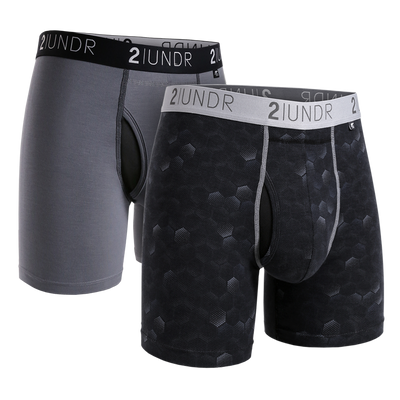 Swing Shift Boxer Brief 2 Pack - Grey/Black - Hexadot
