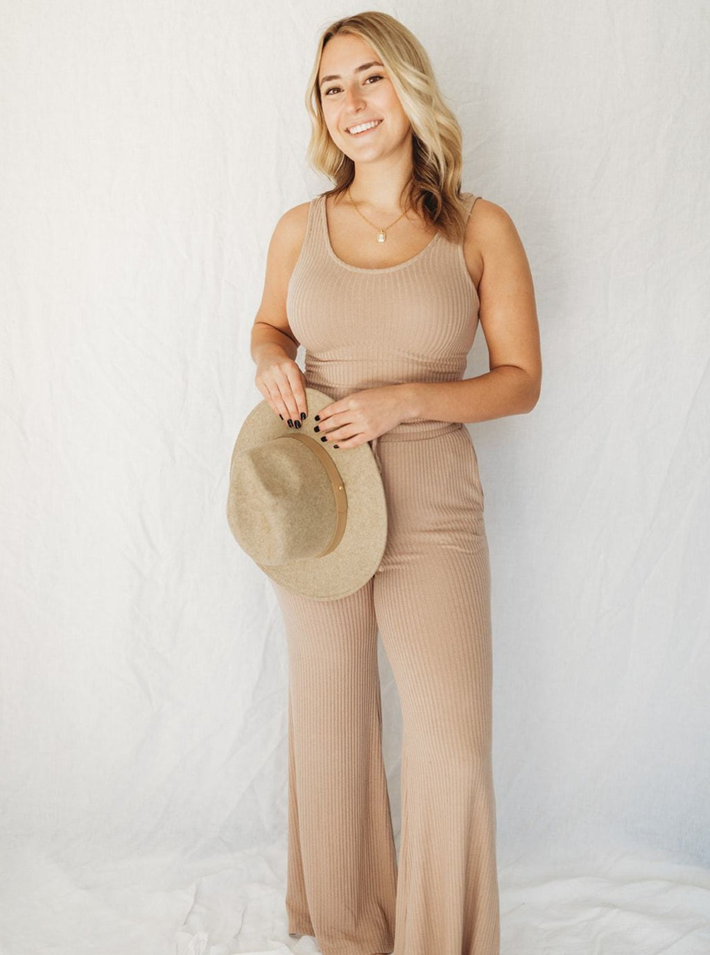 Mocha Knit Wide Leg Lounge Pants