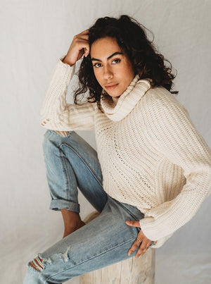Ribbed Knit Turtle Neck Sweater